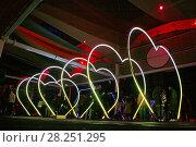 Купить «Luminous artistic installation, Llum Bcn Poblenou 2018 festival, Barcelona, Catalonia, Spain», фото № 28251295, снято 17 февраля 2018 г. (c) age Fotostock / Фотобанк Лори
