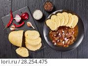 Czech beef goulash served on plate. Стоковое фото, фотограф Oksana Zh / Фотобанк Лори