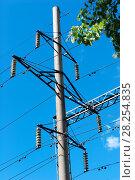 Купить «High voltage line», фото № 28254835, снято 20 июня 2007 г. (c) Ольга Сапегина / Фотобанк Лори