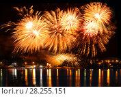 Купить «Celebratory bright firework», фото № 28255151, снято 8 августа 2015 г. (c) ElenArt / Фотобанк Лори