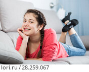 Купить «Girl posing playfully», фото № 28259067, снято 29 марта 2017 г. (c) Яков Филимонов / Фотобанк Лори