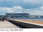 Купить «Вид на стадион Санкт-Петербург арена и ЗСД из парка 300-летия Санкт-Петербурга», эксклюзивное фото № 28259407, снято 25 июня 2017 г. (c) Александр Щепин / Фотобанк Лори