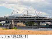 Купить «Вид на стадион Санкт-Петербург арена и ЗСД из парка 300-летия Санкт-Петербурга», эксклюзивное фото № 28259411, снято 25 июня 2017 г. (c) Александр Щепин / Фотобанк Лори