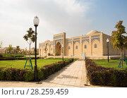 Купить «The restored building of the ancient madrassa of Koba in Shakhrisabz, Uzbekistan», фото № 28259459, снято 16 октября 2016 г. (c) Юлия Бабкина / Фотобанк Лори