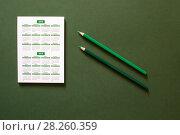 Купить «Блокнот с календарём на 2018 и 2019 годы на зелёном фоне и двумя зелёными карандашами», фото № 28260359, снято 1 апреля 2018 г. (c) V.Ivantsov / Фотобанк Лори