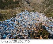 Купить «Aerial of famous blue city Chefchaouen», фото № 28260715, снято 17 февраля 2018 г. (c) Михаил Коханчиков / Фотобанк Лори