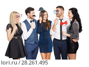 Купить «happy friends with party props posing», фото № 28261495, снято 3 марта 2018 г. (c) Syda Productions / Фотобанк Лори