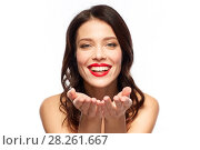 Купить «beautiful smiling young woman with red lipstick», фото № 28261667, снято 5 января 2018 г. (c) Syda Productions / Фотобанк Лори