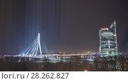 Купить «Night Riga city winter timelapse, lights, bridge, Daugava river», видеоролик № 28262827, снято 1 декабря 2017 г. (c) Aleksejs Bergmanis / Фотобанк Лори