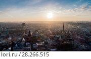 Купить «Timelapse Riga city Old Down Town Autumn Drone Flight bridges daugava river Library», видеоролик № 28266515, снято 31 марта 2018 г. (c) Aleksejs Bergmanis / Фотобанк Лори