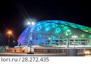 """Купить «Олимпийский стадион """" Фишт """" с ночной подсветкой, Сочи», фото № 28272435, снято 17 марта 2018 г. (c) Владимир Макеев / Фотобанк Лори"""