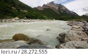 Купить «Mountains river in Los Glaciares National Park in Argentina», видеоролик № 28272555, снято 9 марта 2017 г. (c) Яков Филимонов / Фотобанк Лори