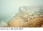 Romantic landscape of Praia das Azenhas do Mar. Sintra, Portugal. Стоковое фото, фотограф Сергей Цепек / Фотобанк Лори