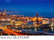 Купить «Barcelona and Mediterranean in night», фото № 28273699, снято 5 апреля 2014 г. (c) Яков Филимонов / Фотобанк Лори