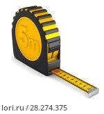 Купить «yellow tape measure on white background. isolated 3d illustration», иллюстрация № 28274375 (c) Ильин Сергей / Фотобанк Лори
