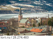 Brick stone neogothic church in Olympic town Lillehammer, Norway. Стоковое фото, фотограф Сергей Цепек / Фотобанк Лори