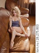 Купить «Sexual emotional attractive woman posing in a bedroom», фото № 28275803, снято 10 февраля 2018 г. (c) Дмитрий Черевко / Фотобанк Лори
