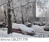 Купить «Автомобили  в городском дворе зимой», фото № 28277779, снято 22 февраля 2018 г. (c) Татьяна Чепикова / Фотобанк Лори