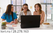 Купить «businesswomen having video chat at office», видеоролик № 28278163, снято 26 марта 2018 г. (c) Syda Productions / Фотобанк Лори