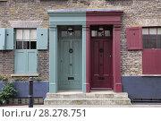 Купить «Historic Huguenot houses dating from the 18th century, Spitalfields, East End, London, England, United Kingdom, Europe», фото № 28278751, снято 31 марта 2017 г. (c) age Fotostock / Фотобанк Лори