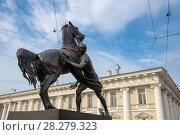 """Купить «Скульптура """"Юноша, берущий коня под уздцы"""" на Аничковском мосту через реку Фонтанку, созданная русским скульптором бароном Петром Клодтом», фото № 28279323, снято 18 августа 2017 г. (c) Pukhov K / Фотобанк Лори"""