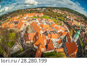 Panoramic view of Cesky Krumlov from the top of a tower. Bohemia. April. Стоковое фото, фотограф Сергей Цепек / Фотобанк Лори