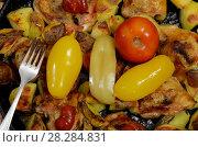 Купить «Консервированные помидоры и перец лежат на жареной курятине с картофелем», фото № 28284831, снято 28 января 2020 г. (c) Игорь Кутателадзе / Фотобанк Лори
