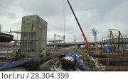 Купить «General view of the construction site of the railway station», видеоролик № 28304399, снято 25 марта 2018 г. (c) Андрей Радченко / Фотобанк Лори