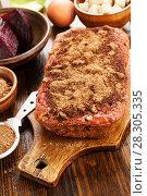 Купить «Beetroot pie with walnuts», фото № 28305335, снято 23 января 2018 г. (c) Надежда Мишкова / Фотобанк Лори