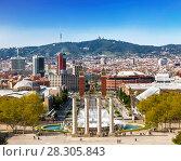 Купить «Вид на площадь Испании с горы Монжуик, Каталония, Испания», фото № 28305843, снято 5 апреля 2018 г. (c) Наталья Волкова / Фотобанк Лори