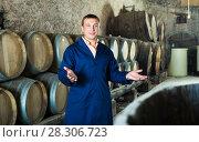 Купить «Man checking ageing barrel process», фото № 28306723, снято 22 сентября 2016 г. (c) Яков Филимонов / Фотобанк Лори
