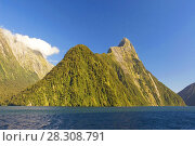 Купить «Mitre Peak in Milford Sound, one of New Zealand's most important tourist attractions and world famous for its natural beauty», фото № 28308791, снято 19 апреля 2019 г. (c) BE&W Photo / Фотобанк Лори