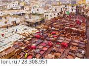 Купить «Traditional leather tanneries in the medina of Fez, Morocco, Africa», фото № 28308951, снято 19 января 2019 г. (c) BE&W Photo / Фотобанк Лори