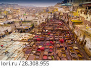 Купить «Traditional leather tanneries in the medina of Fez, Morocco, Africa», фото № 28308955, снято 16 января 2019 г. (c) BE&W Photo / Фотобанк Лори