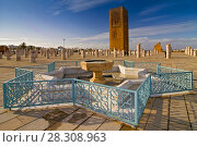 Купить «View at the Hassan tower with fountain near mausoleum of Mohammed V in Rabat, Morocco», фото № 28308963, снято 20 мая 2019 г. (c) BE&W Photo / Фотобанк Лори