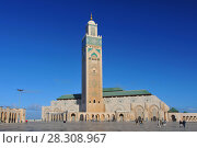 Купить «The Hassan II Mosque or Grande Mosquée Hassan II, a mosque in Casablanca Morocco. It is the largest mosque in Morocco and the 13th largest in the world.», фото № 28308967, снято 22 мая 2018 г. (c) BE&W Photo / Фотобанк Лори