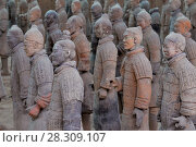 """Купить «The Terracotta Army or the """"Terra Cotta Warriors and Horses"""" buried in the pits next to the Qin Shi Huang's tomb, Xi'an China», фото № 28309107, снято 27 марта 2019 г. (c) BE&W Photo / Фотобанк Лори"""