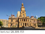 Купить «The Sydney Town Hall is a late 19th-century building in the city of Sydney, the capital city of New South Wales, Australia», фото № 28309151, снято 16 января 2019 г. (c) BE&W Photo / Фотобанк Лори