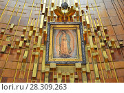 Купить «Image of Our Lady of Guadalupe in the New Basilica in Mexico City», фото № 28309263, снято 11 декабря 2019 г. (c) BE&W Photo / Фотобанк Лори