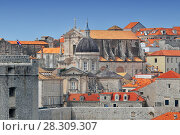 Купить «A view of the Cathedral of Dubrovnik from the old city town walls», фото № 28309307, снято 16 июня 2019 г. (c) BE&W Photo / Фотобанк Лори