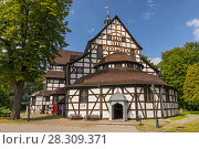 Купить «View at UNESCO listed Church of Peace in the city of Swidnica in Lower Silesian Voivodeship of south-western Poland», фото № 28309371, снято 22 октября 2019 г. (c) BE&W Photo / Фотобанк Лори