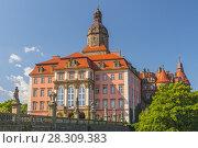 Купить «Majestic Baroque Ksiaz Castle, Hochbergs residence, Lower Silesia, Poland, Europe», фото № 28309383, снято 19 августа 2018 г. (c) BE&W Photo / Фотобанк Лори