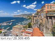 Купить «View over Marina Piccolo and Bay of Naples, Sorrento, Neapolitan Riviera, Italy», фото № 28309495, снято 21 марта 2019 г. (c) BE&W Photo / Фотобанк Лори