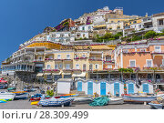 Купить «Beautiful Positano village built on the hills leading down to the coast, Amalfi Coast, Campania, Italy», фото № 28309499, снято 22 апреля 2019 г. (c) BE&W Photo / Фотобанк Лори
