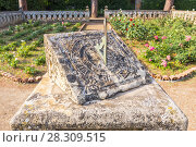 Купить «View of a Sundial in a Villa Cimbrone Garden and rose terrace in Ravello, Amalfi Coast, Italy», фото № 28309515, снято 24 апреля 2019 г. (c) BE&W Photo / Фотобанк Лори