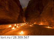 Illuminated Path to The Treasury (Al Khazneh) of Petra Ancient City, Jordan. Стоковое фото, агентство BE&W Photo / Фотобанк Лори