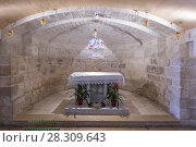 Купить «Hall in the dungeon under the St. Joseph's Church wall in the old city of Nazareth in Israel.», фото № 28309643, снято 24 марта 2019 г. (c) BE&W Photo / Фотобанк Лори