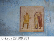 Купить «Ancient painted wall frescoes at the ancient Roman city of Pompei, Italy», фото № 28309851, снято 17 октября 2018 г. (c) BE&W Photo / Фотобанк Лори