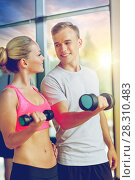 Купить «smiling young woman with personal trainer in gym», фото № 28310483, снято 29 июня 2014 г. (c) Syda Productions / Фотобанк Лори