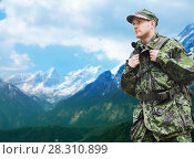 Купить «soldier in military uniform with backpack hiking», фото № 28310899, снято 14 августа 2014 г. (c) Syda Productions / Фотобанк Лори